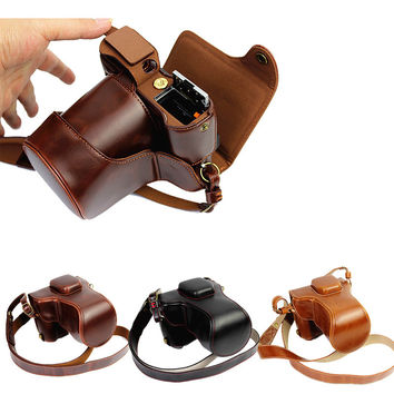 Luxury PU Leather Camera Bag For Fujifilm X-T10 XT10 w 16-50mm lens Camera Case Leather With Strap