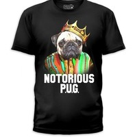 Notorious PUG big 2PAC BIGGIE SMALLS Dog with king's crown in Soft T-shirt top