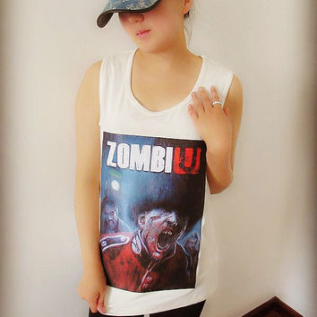 Zombi Tee Shirt , Crop Top Shirt , Tank T Shirt , Tunic Shirt , Women Sexy Hipster Shirt , Custom Photo Shirt