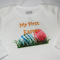 Baby's First Easter Bodysuit. Long Sleeve Onesuit. Can Be Customized By Size.