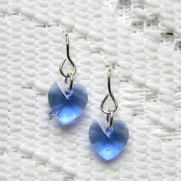 Swarovski Heart Charm Sapphire Earrings 10mm - 1 pair