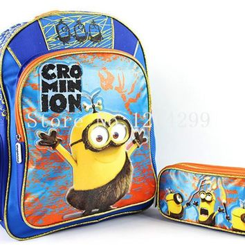 New Fashion Despicable Me Minions Grass Skirts Boys Students School Bags With Pencil Bag Set Kids Backpack For Children
