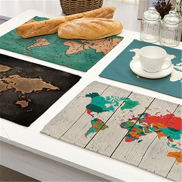 Map Of World Patterns Placemat Printing Cotton Linen Placemat Various Types World Map Table Pads Table Decoration 42*32cm