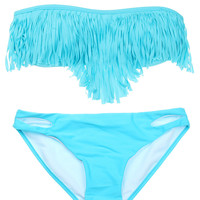 Light Blue Padded Tassel Sexy Swimsuit