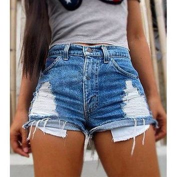 Sexy Women Jeans Vintage High Waist Hole Short Jeans Denim Sexy Shorts