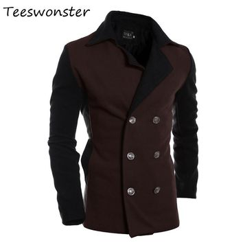 Winter 2017 Mens Double Breasted Trench Coats Casual Overcoats Turn-down Men Fashion Coat Abrigos Largos Hombres Invierno