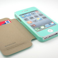 GNJ New Mint suede diary pouch Flip case cover + Mint screen for iPhone 4 4G 4S