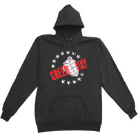 Green Day Men's  Circle Of Stars Hooded Sweatshirt Black Rockabilia