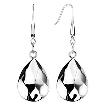Spikes Womens  316L Surgical Stainless Steel Textured Teardrop Dangle Earring