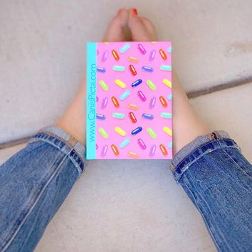 Pill Pastel Pattern Hardcover Journal Notebook Modern Sketchbook Paper Graph Rule 90s 80s Colors Candy Kawaii Pink Teal Cute Blue Red Yellow