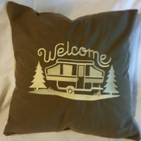 Pop up camper welcome   embroidered pillow cover fleece back moose and trees pattern handmade camping decor