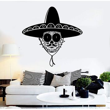 Vinyl Wall Decal Skull Sombrero Mexican Art Latin America Stickers Unique Gift (ig3794)