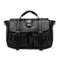 Black Leather with Skull Accent Bag