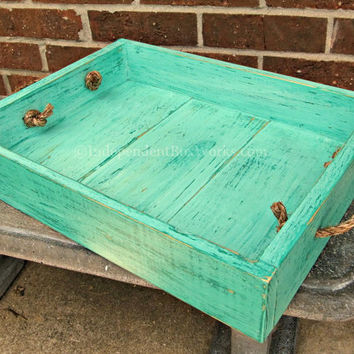 Weathered Turquoise Painted Wooden Tray with Rope Handles - Blue Green Rustic Wood Serving Tray - Distressed Ottoman Tray, Centerpiece Tray