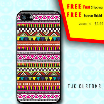 iPhone 5 Case iPhone 5 Tribal Aztec Print Case Durable Rubber Borders