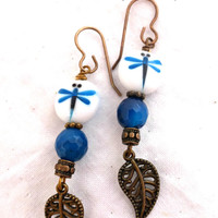 Leafy dragonflies. Gemstone, glass and metal earrings.
