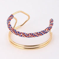 Multicolor Rope Wrapped Cuff Bracelet