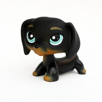 Rare Animal pet shop DACHSHUND #325 cute little black sausage dog lps toy for kids Christmas present
