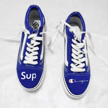 Vans x Supreme x LV Old Skool Flats Sneakers Sport Shoes Sapphire blue H
