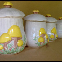 Vintage Arnel's Mushroom Canister Set...Retro Kitchen Decor....70's/80's Kitchenelia!!