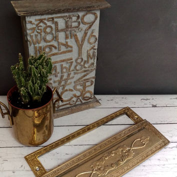 Antique Brass Mail Slot/ Vintage Brass Letter Slot/ Mail Slot/ Vintage Mail Box/ Front Door/ Mailbox/ Brass Mailbox/ Antique Mailbox
