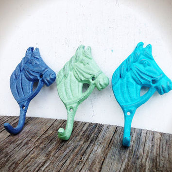 Set Of 3 Little Horse Wall Hooks - Country Shabby Chic - Blue Grey Mint Green & Seaside Aqua Blue Cast Iron