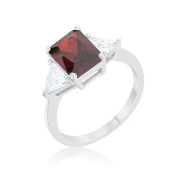 Classic Garnet White Gold Rhodium Engagement Ring, size : 05