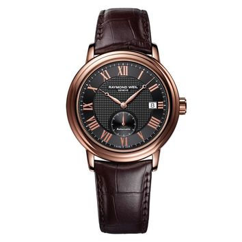 Men's Raymond Weil Maestro Leather Automatic Watch