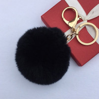 Fur pom pom keychain fur ball bag pendant charm made from Rex Rabbit Fur Black