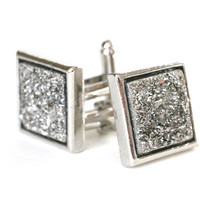 Metallic Silver Square Druzy Cuff Links in Silver for Men - Gift for Him, Limited Quantities