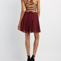 Lace-Up Back Skater Dress