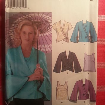 Uncut Simplicity Sewing Pattern, 5347! 14-16-18-20 Medium/Large/XL/Women's/Misses/Tank Tops/Wrap Tops/Kimono Jacket/Short or Long Sleeve