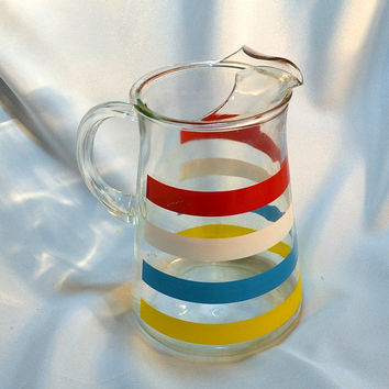 Retro 1950s Striped Glass Pitcher with Ice Lip Red, White, Blue and Yellow  Stripes