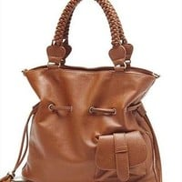 Fashion Leisure Fringed Brown Knit Shoulder Bag from perfectmall