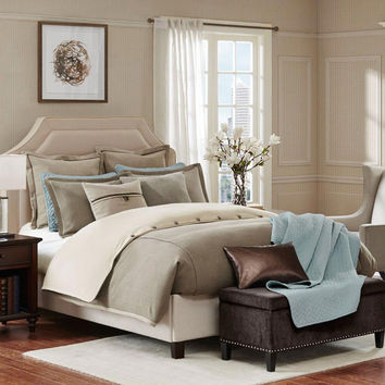 Hampton Hill Kingston  Polyester Jacquard 8pcs Comforter Set, Taupe