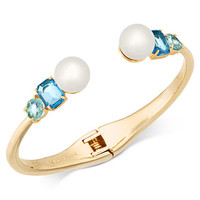 kate spade new york Gold-Tone Imitation Pearl & Crystal Hinged Bangle Bracelet | macys.com