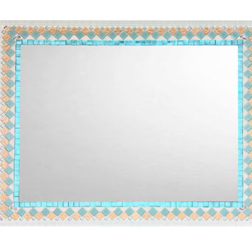 Wall Mirror, Beach House Decor, Large Mosaic Mirror, Aqua White and Copper Wall Decor