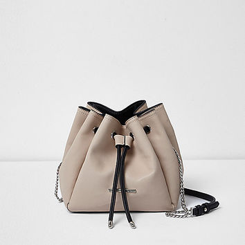 Cream panel drawstring duffel bag - cross body bags - bags / purses - women