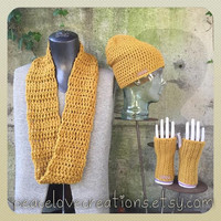 Infinity Scarf, Hand Warmers and Beanie Set~Ready to ship~ FREE SHIPPING