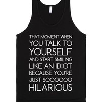 Talk to Yourself-Unisex Black Tank