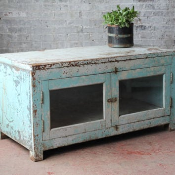 Reclaimed Media Console TV Stand Vintage Acid Washed Jodhpur Blue Glass Door Teak Wood Industrial Farm Chic Indian Furniture