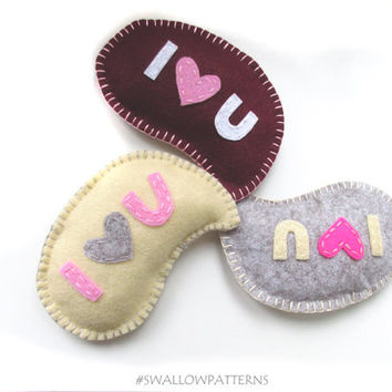 I Love You felt PDF Pattern, Christmas Heart ornament, Decoration, Valentine gift with sewing instructions