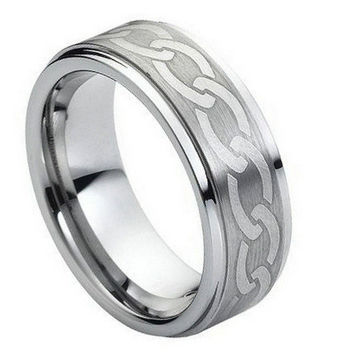 Tungsten Carbide Laser Engraved Wicca Celtic Ring 8MM