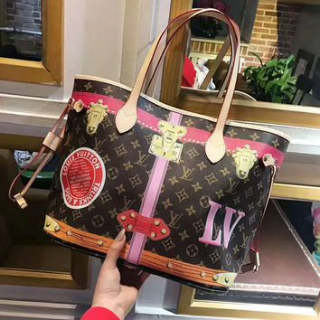 LV Louis Vuitton 2018 limited edition canvas shopping bag mother bag two-piece F-AGG-CZDL