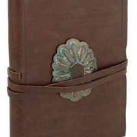 Brown Leather Wrinkle Lined Bound Journal with Western Style Brass Closure