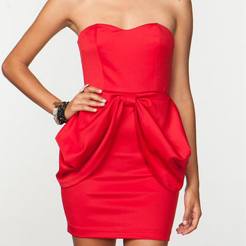 Chic Bonette Red Strapless Dress