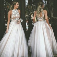 2019 Hot Sexy Two Piece Prom Dresses High Neck Tulle with Rhinestone Evening Dress F4520