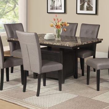 7 pc Maribell collection light espresso finish wood faux marble top dining table set