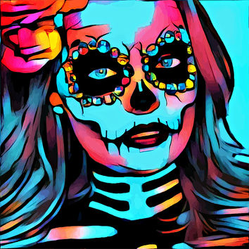 Day Of The Dead Beautiful Skull Girl Abstract Art