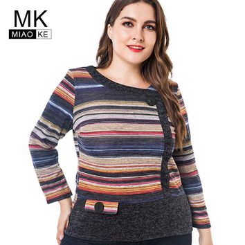 Miaoke Long Sleeve T Shirts Women 2018 Fall Clothing ladies Fashion Oversized Vintage striped Graphic Tees Plus Size Tops